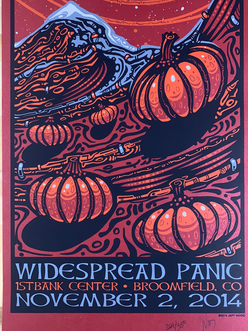 Widespread Panic - 2014 Jeff Wood poster Broomfield, CO 11/2 1st Bank Center