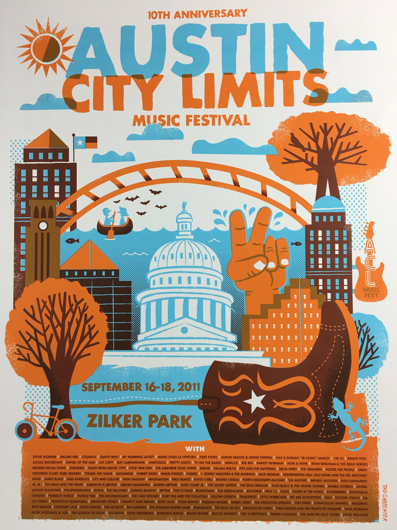 Austin City Limits Festival - 2011 Tad Carpenter poster Texas
