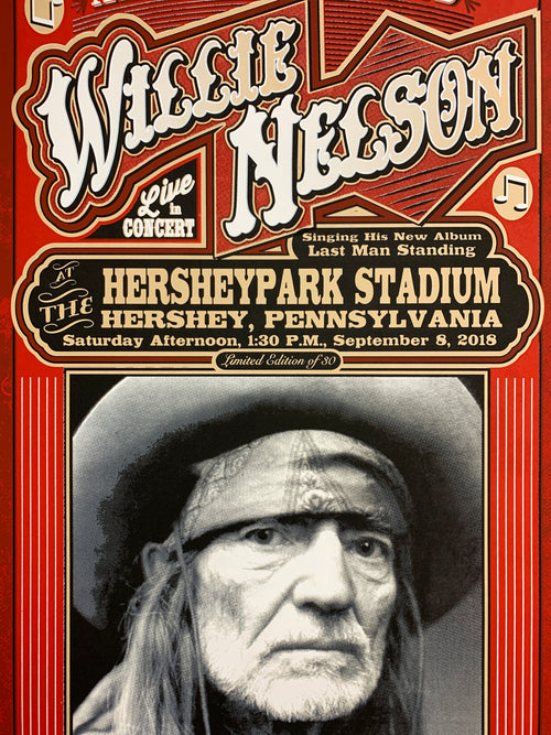 Willie Nelson - 2018 Mattole River Studios poster Hershey Pennsylvania