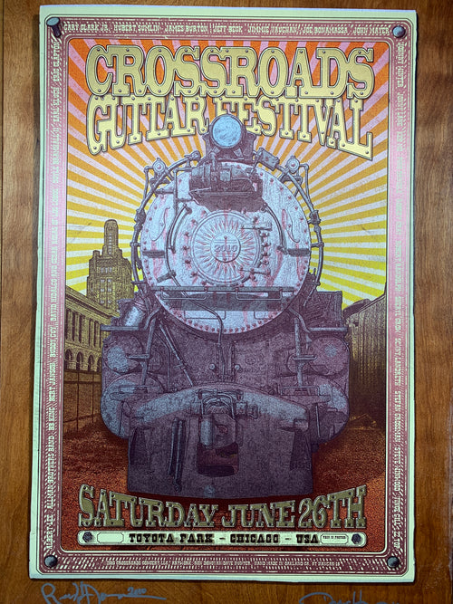 Crossroads Guitar Festival - 2010 poster Birch Panel wood edition Ron Donovan