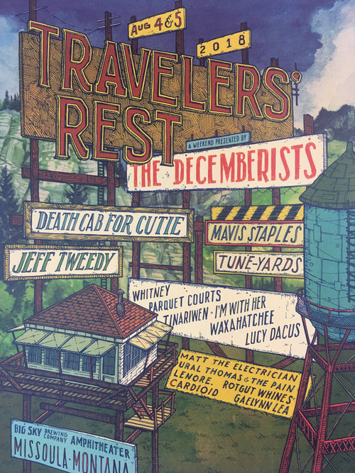 Traveler's Rest - 2018 Landland Poster Missoula, MT Big Sky Brewing Amphitheatre