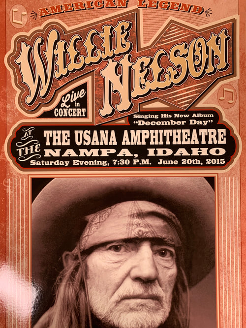 Willie Nelson - 2015 Franks Brothers poster Nampa, Idaho