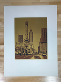 Chicago Water Tower - Les Hellman art print poster Original Vintage