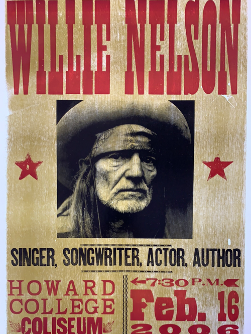 Willie Nelson - 2006 Hatch Show Print poster Big Spring, Texas Howard College