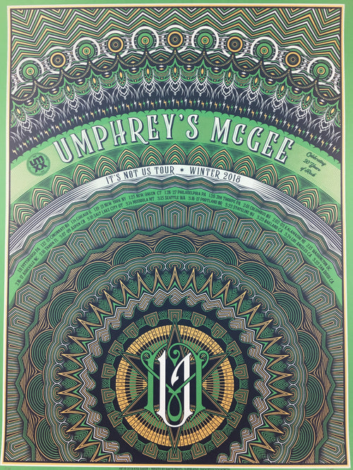 Umphrey's McGee - 2018 Kyle Baker poster Winter Tour Irish Edition
