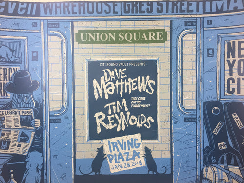 Dave Matthews Tim Reynolds - 2018 Methane Studios Poster New York City, NY Irvin