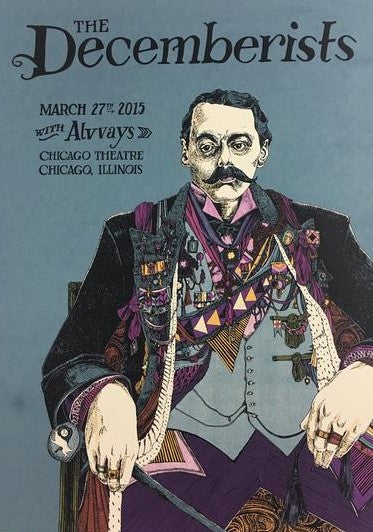 The Decemberists - 2015 Landland Poster Chicago, IL Chicago Theater
