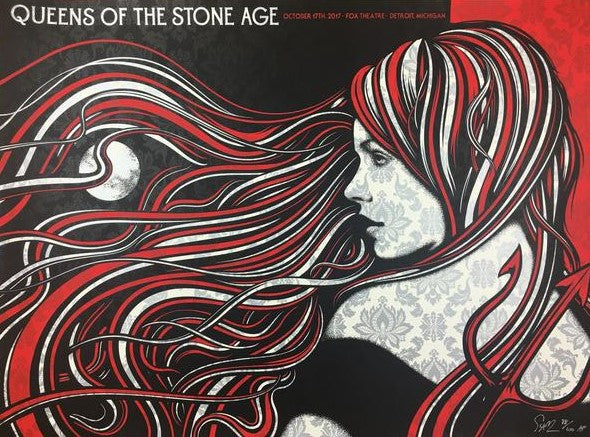 Queens of the Stone Age - 2017 Todd Slater Poster Detroit, MI Fox Theatre