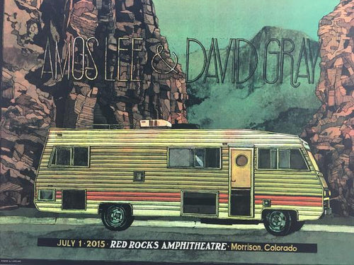 Amos Lee & David Gray - 2015 Landland Poster Morrison, CO Red Rocks Amphitheatre