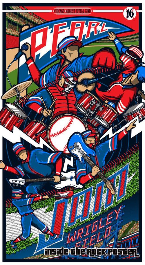 Pearl Jam - 2016 Brad Klausen poster Chicago, IL Wrigley 1st