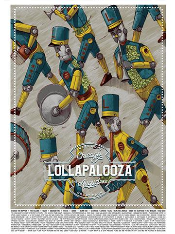 Lollapalooza - 2017 Pixelpancho poster Chicago parade print