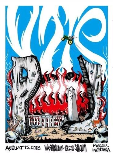 Pearl Jam - 2018 Bobby Brown Draws Skulls Missoula poster Jeff Ament