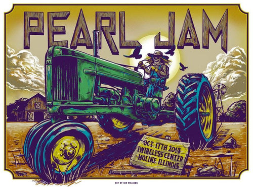 Pearl Jam - 2014 Ian Williams poster Moline, IL I Wireless AP S/N