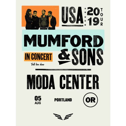 Mumford & Sons - 2019 poster Portland, OR Moda Center Delta Tour