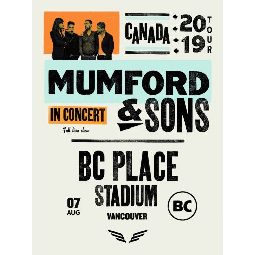 Mumford & Sons - 2019 poster Vancouver, BC Place Stadium Delta Tour