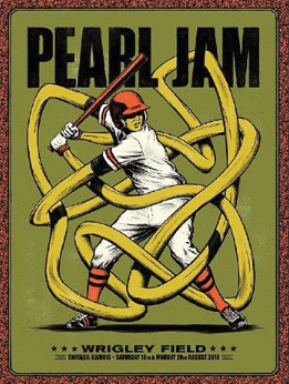 Pearl Jam - 2018 Andrew Fairclough Poster Chicago, IL Wrigley Field