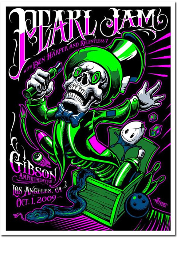 Pearl Jam 2009 Maxx242 Poster Los Angeles Ca Gibson