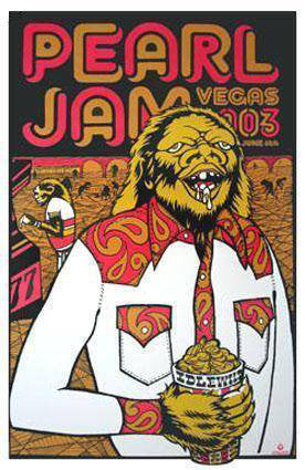 Pearl Jam - 2003 Ames Brothers Design Poster Las Vegas, NV