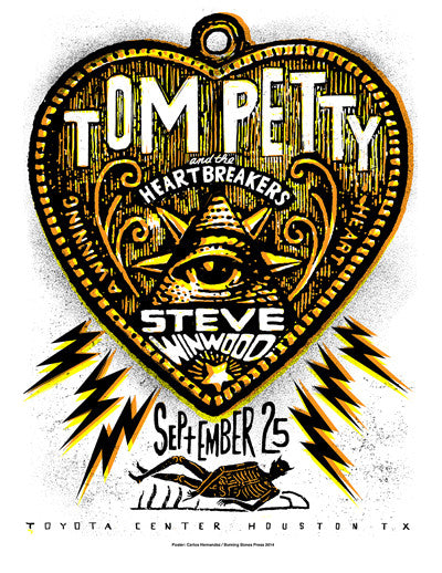 Tom Petty - 2014 Carlos Hernandez poster Houston, TX Toyota Center