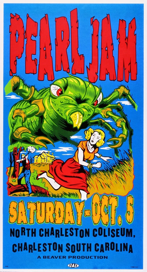 Pearl Jam - 1996 TAZ poster Charleston South Carolina S/N