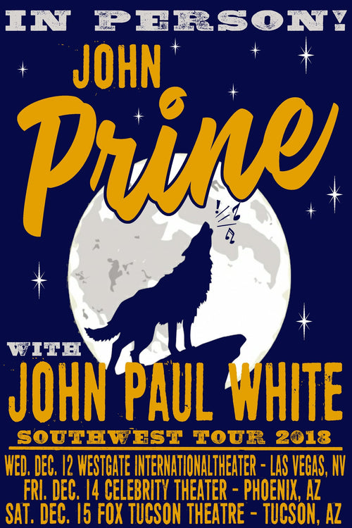 John Prine - 2019 Mike Armistead poster John Paul White Southwest Tour