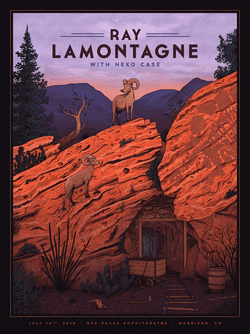 Ray Lamontagne - 2018 Nicholas Moegly poster Red Rocks Morrison, CO