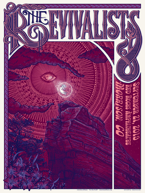 The Revivalists - 2019 Max Wesoloski poster Morrison, CO Red Rocks Amphitheatre