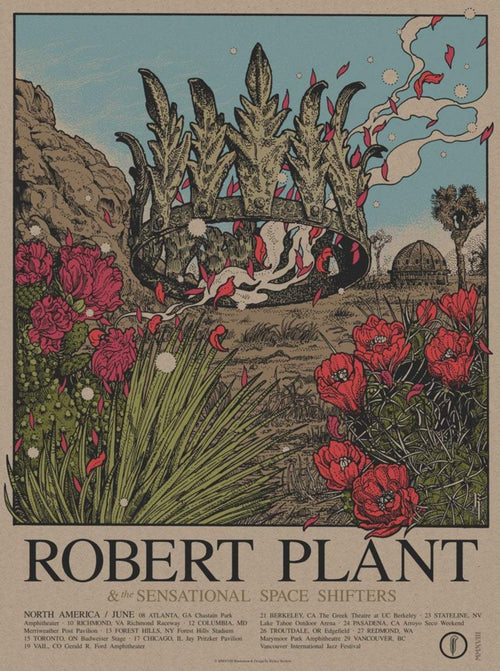 Robert Plant - 2018 Richey Beckett poster Atlanta, GA Carry Fire AP