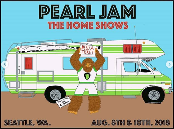 Pearl Jam - 2018 Kevin Shuss Poster Seattle, WA Safeco Field