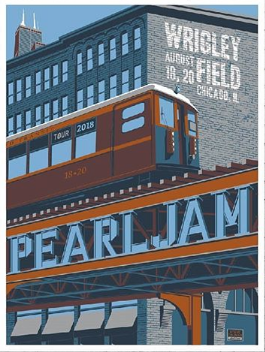 Pearl Jam - 2018 Steve Thomas Poster Chicago, IL Wrigley Field