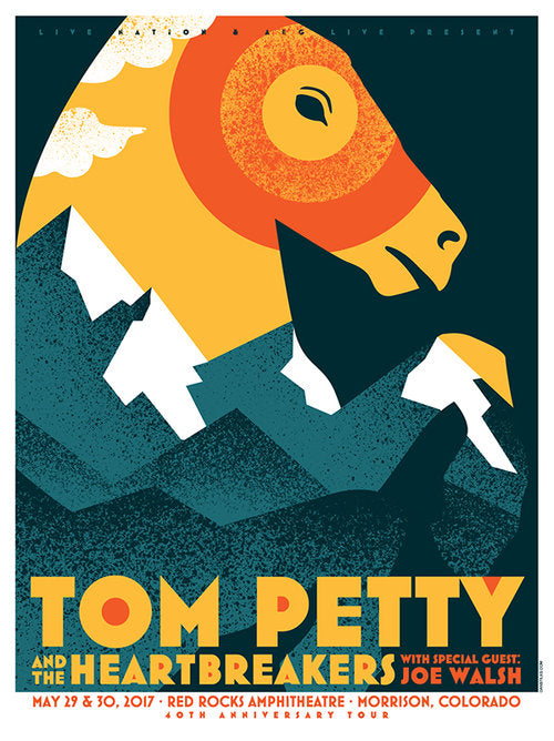 Tom Petty - 2017 Dan Stiles poster Red Rocks, Morrison, CO 40th Anniversary Tour