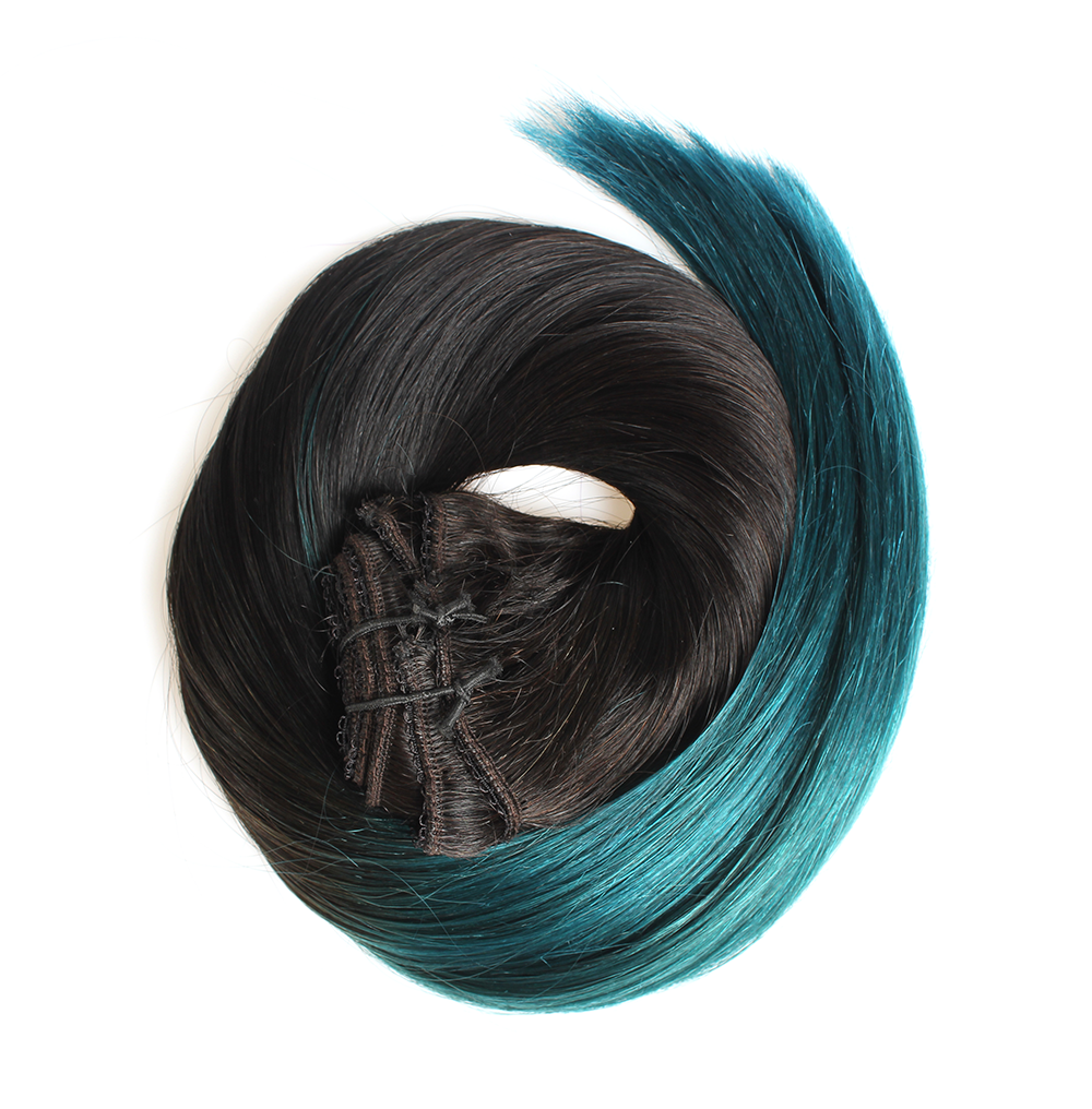 "Clip-in Remy Extensions 220G 20"" ( 1 B ) Ombré Teal"