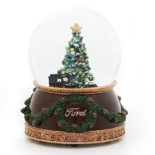 Musical Glitter dome with Ford 1926 Model T-Truck and 1932 V-8 Car-130944