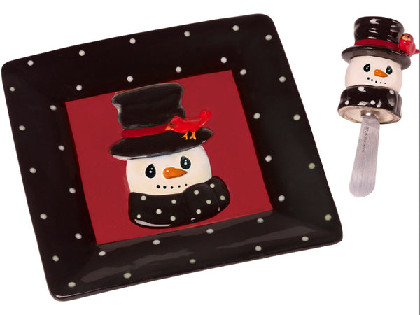 Precious Moments Snowman Cheese Plate And Spreader - 171476