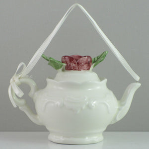 Mud Pie Ribbon 'n Rose Teapot Ornament-20602