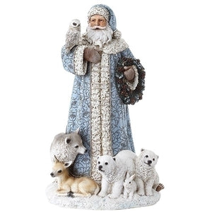Joseph Studio Powder Blue Santa with Woodland Animals Christmas- 31293