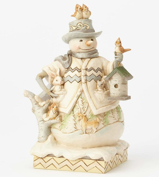 Jim Shore White Woodland Snowman w/Birdhouse - 4058734