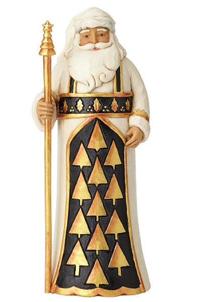 Jim Shore Heartwood Creek Black & Gold Santa with Staff-6001434