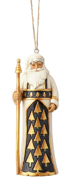 Jim Shore Heartwood Creek Black & Gold Santa Ornament-6001439