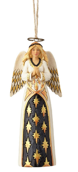 Jim Shore Heartwood Creek Black & Gold Angel Ornament-6001440