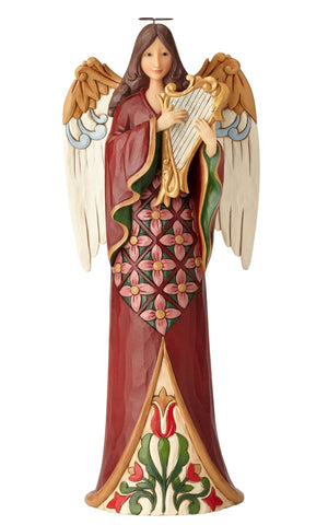 Jim Shore Heartwood Creek Tall Angel with Harp - 6001486