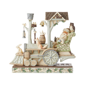 Jim Shore Heartwood Creek White Woodland Collection Santa/Train Engine – 6006580