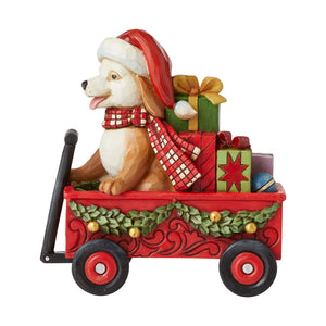 Jim Shore Christmas Dog in Wagon - 6007444