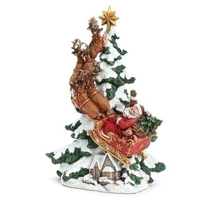 Roman Santa And Deer Riding Up to the Sky-633289