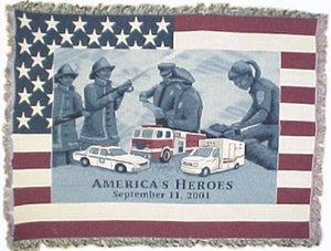 "America's Heroes Tapestry Throw Afghan 51"" x 68"""