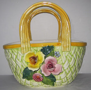 Intrada Italy Green Oval Bag with Flowers-BOR0202