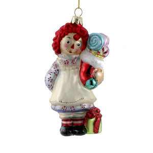 Raggedy Ann With Stocking Glass Ornament-RA4141