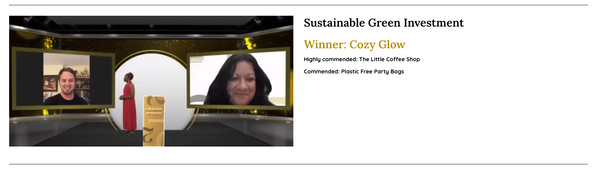 Cozy Glow Candles winning our award for sustainable green investment at the virtual awards ceremony in London