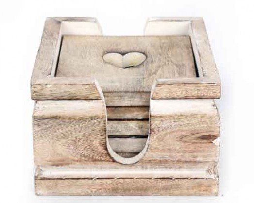 Wooden Heart Coasters Set of 6