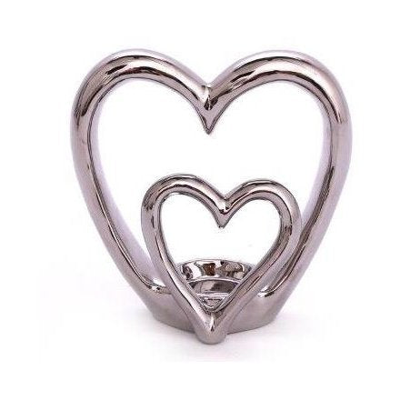 Silver Double Heart Tea-light Holder